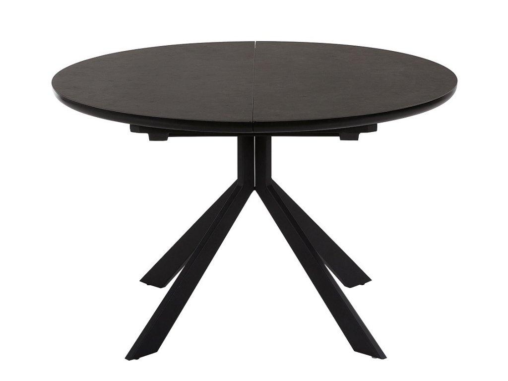 Tmavě šedý rozkládací stůl LaForma Haydee s keramickou deskou a podložkou z tvrzeného skla, černě lakovaná kovová podnož
