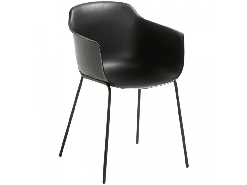 Černá plastová jídelní židle LaForma Khasumi
