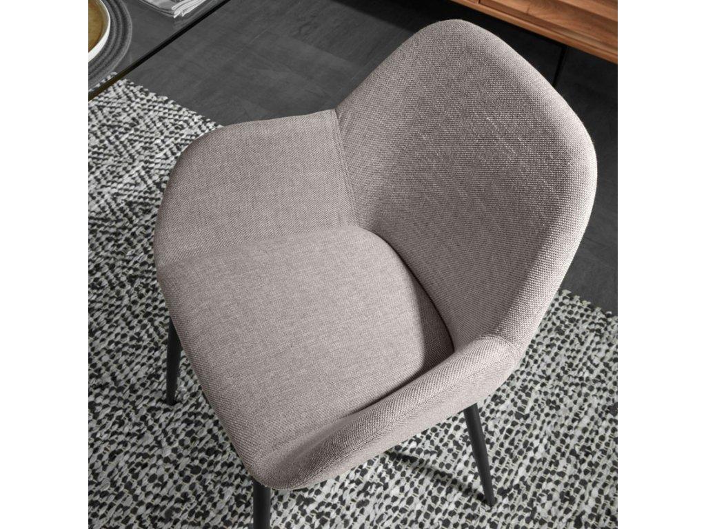 Světle šedá látková jídelní židle LaForma Konna