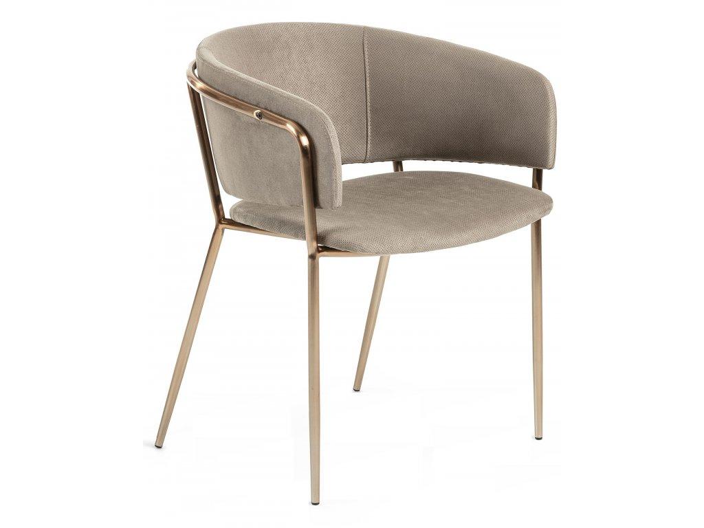 Hnědá čalouněná jídelní židle LaForma Konnie s měděnou podnoží