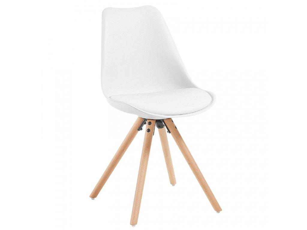 Bílá koženková jídelní židle LaForma Lars