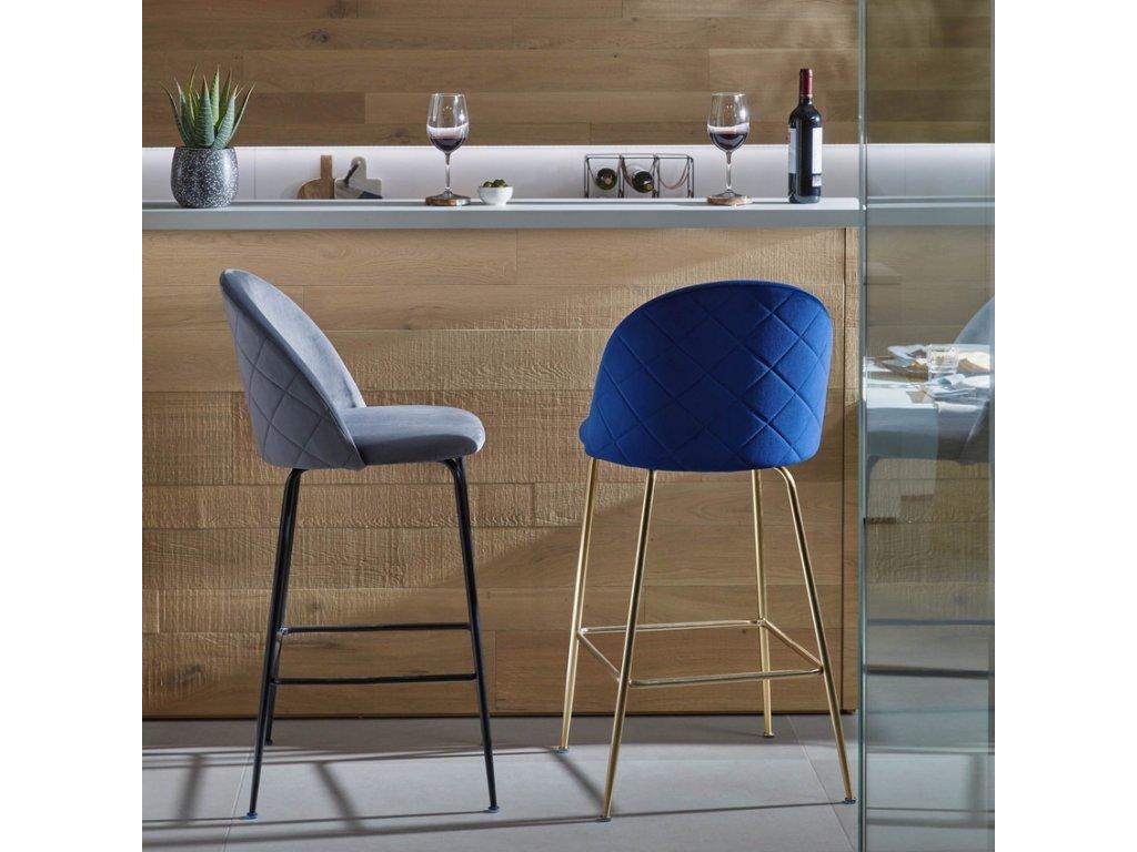 Modrá sametová barová židle LaForma Mystere