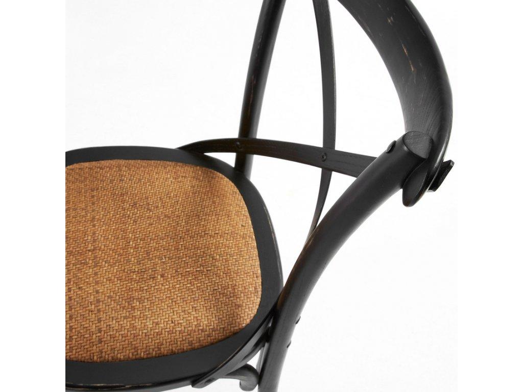 Černá dřevěná jídelní židle LaForma Silea s ratanovým sedákem