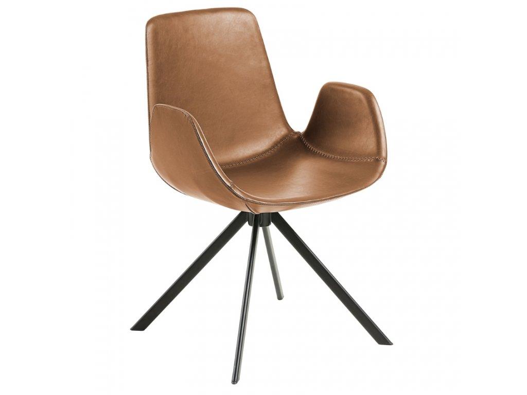 Světle hnědá kožená židle LaForma Yasmin