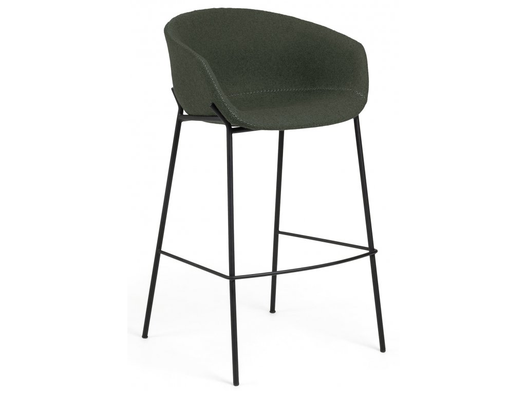Zelená čalouněná barová židle LaForma Zadine s kovovou podnoží