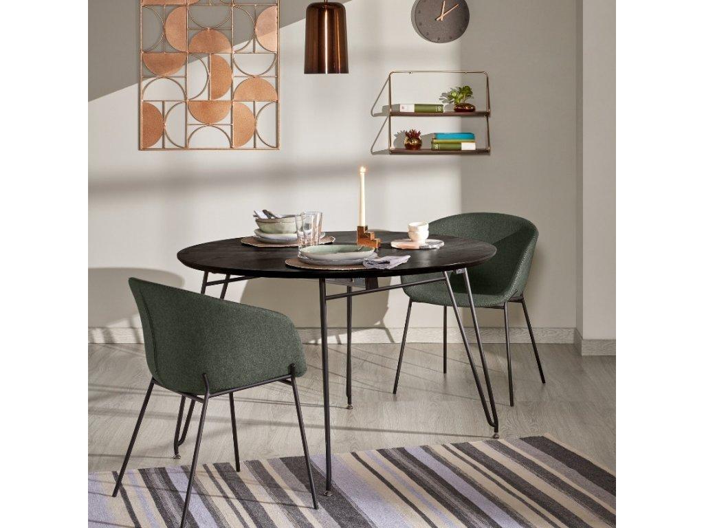 Zelená látková jídelní židle LaForma Zadine