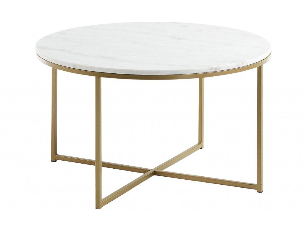 Bílý mramorový konferenční stolek LaForma Sheffield Ø80 cm