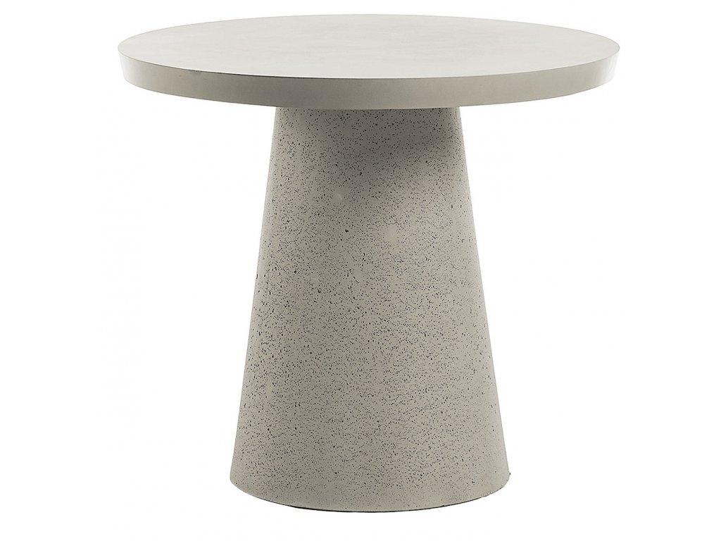 Šedý kulatý cementový jídelní stůl LaForma Rhette 90 cm s masivní podnoží