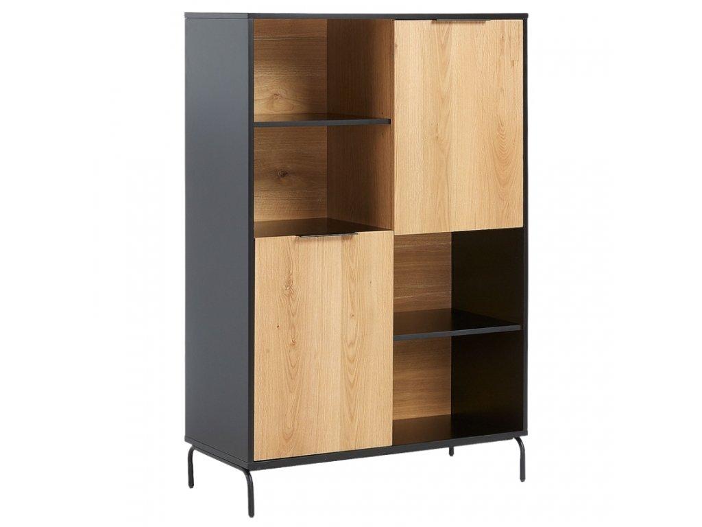 Matně černá dřevěná knihovna LaForma Savoi s kovovou podnoží