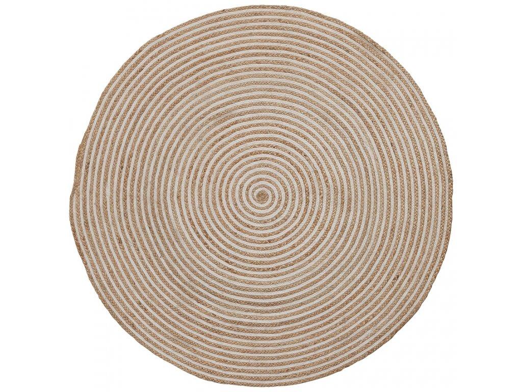 Přírodní jutový koberec LaForma Samy 150 cm s bílým detailem