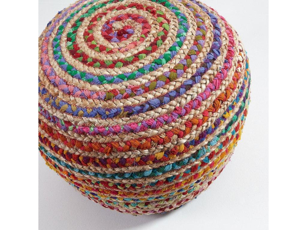 Pestrobarevný jutový puf LaForma Samy 35x50 cm