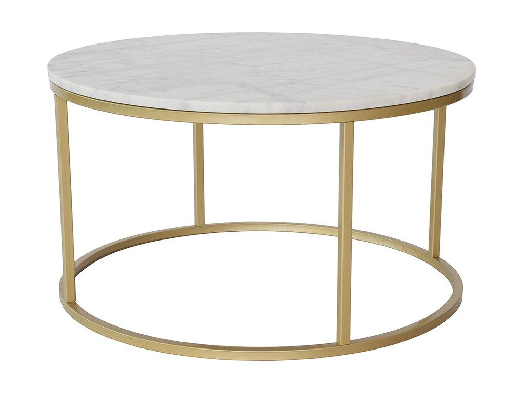 Zlatý kulatý konferenční stolek RGE Accent 85 cm s bílou mramorovou deskou