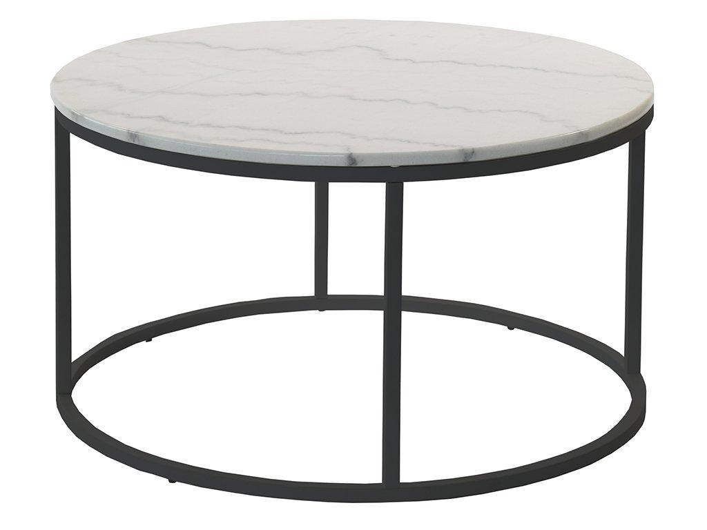 Černý kulatý konferenční stolek RGE Accent 85 cm s bílou mramorovou deskou