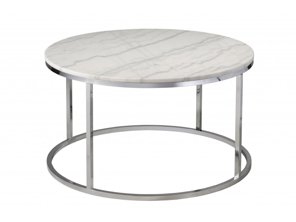 Chromový kulatý konferenční stolek RGE Accent 85 cm s bílou mramorovou deskou