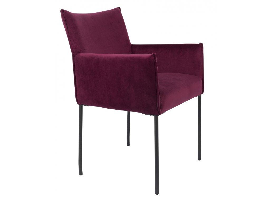 Vínová sametová jídelní židle WLL DION