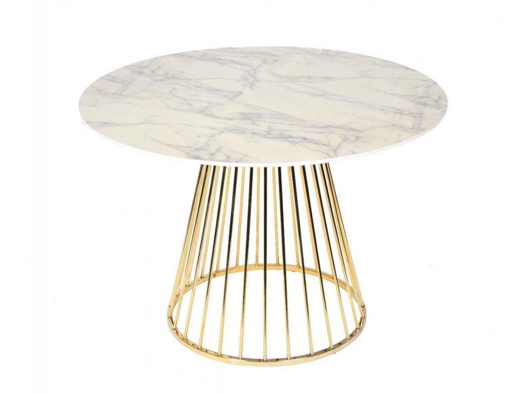 Bílý kulatý kovový jídelní stůl Gloria