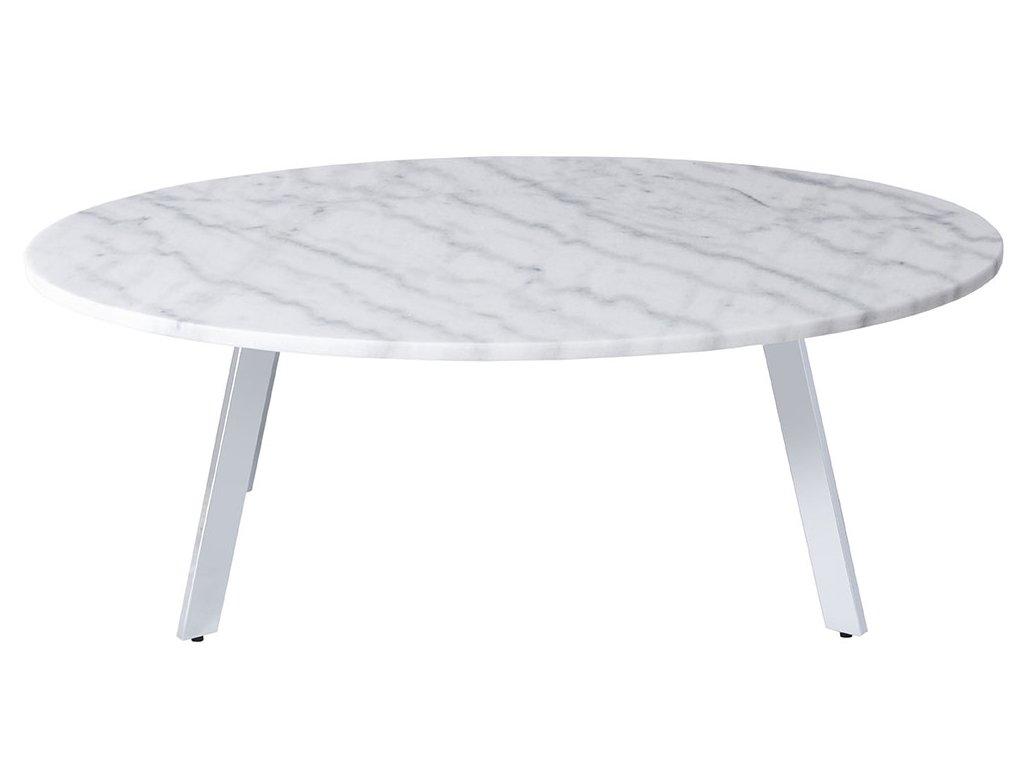 Bílý oválný mramorový konferenční stolek RGE Marble 100 cm s kovovou chromovou podnoží