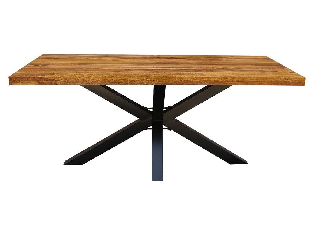 Masivní dřevěný sheeshamový jídelní stůl Oscar 200x100 cm s kovovou podnoží