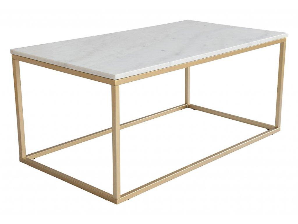 Bílý mramorový konferenční stolek RGE Accent s kovou zlatou podnoží 110 cm