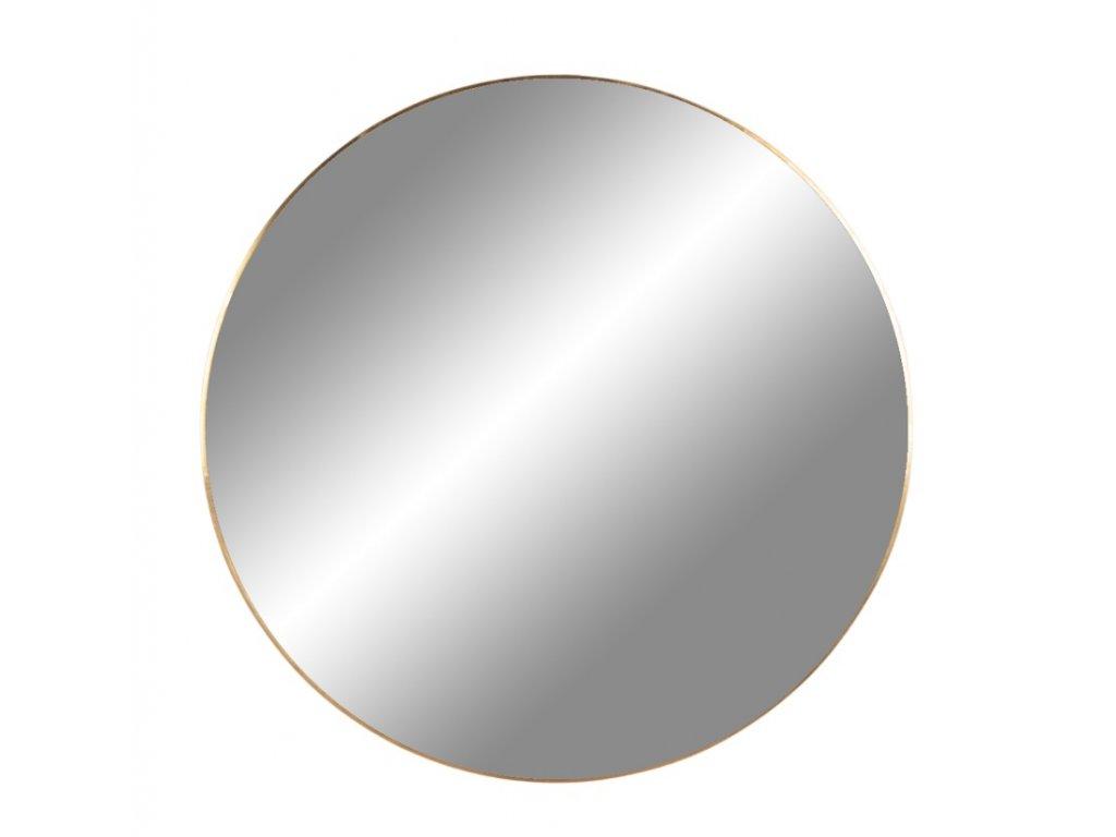 Zlaté závěsné kulaté kovové zrcadlo Nordic Living Vincent 40 cm