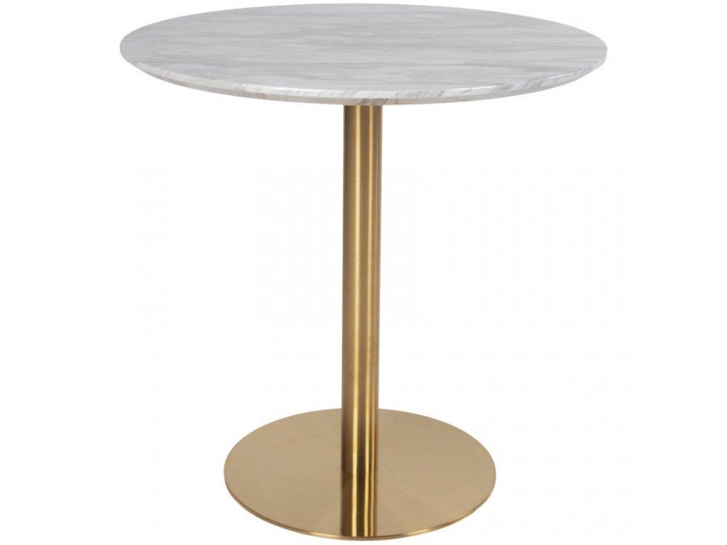Mramorový jídelní stůl Nordic Living Ascona 90 cm s kovovou podnoží