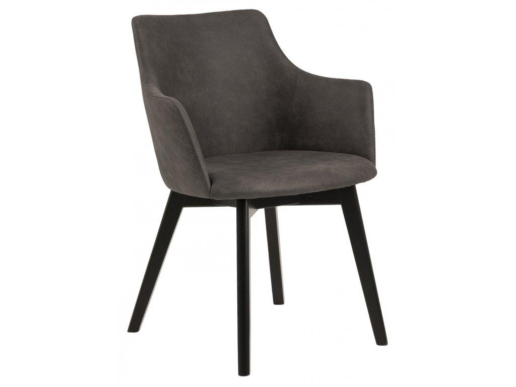 Antracitově šedá čalouněná jídelní židle Dara s dřevěnou podnoží