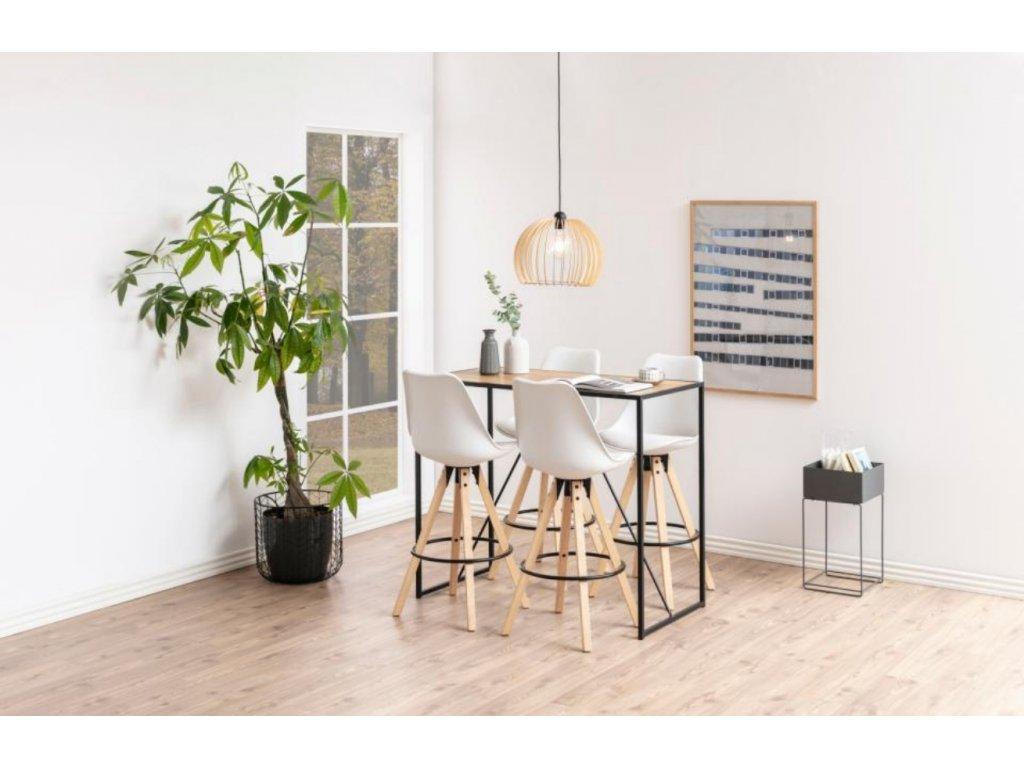 Dubový barový stůl Darila 120 cm s kovovou podnoží
