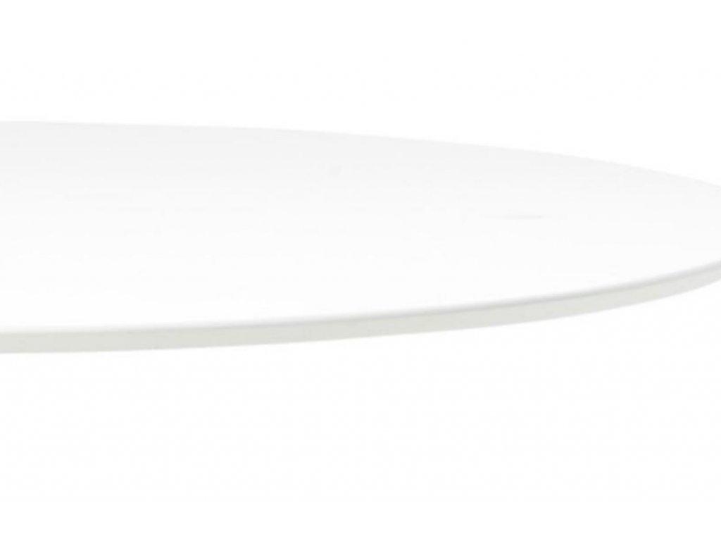 Bílý kulatý jídelní stůl Kreon 110 cm s chromovou podnoží