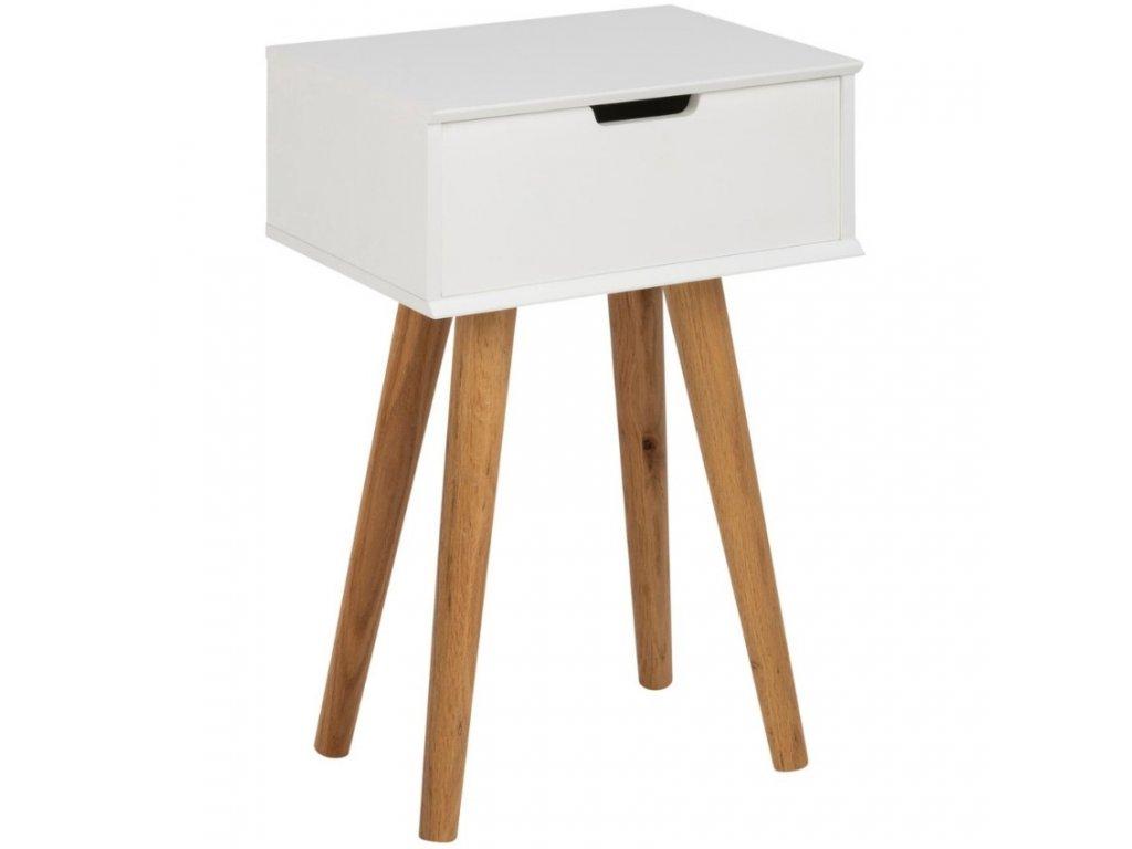 Bílý noční dřevěný stolek Marika s dubovou podnoží