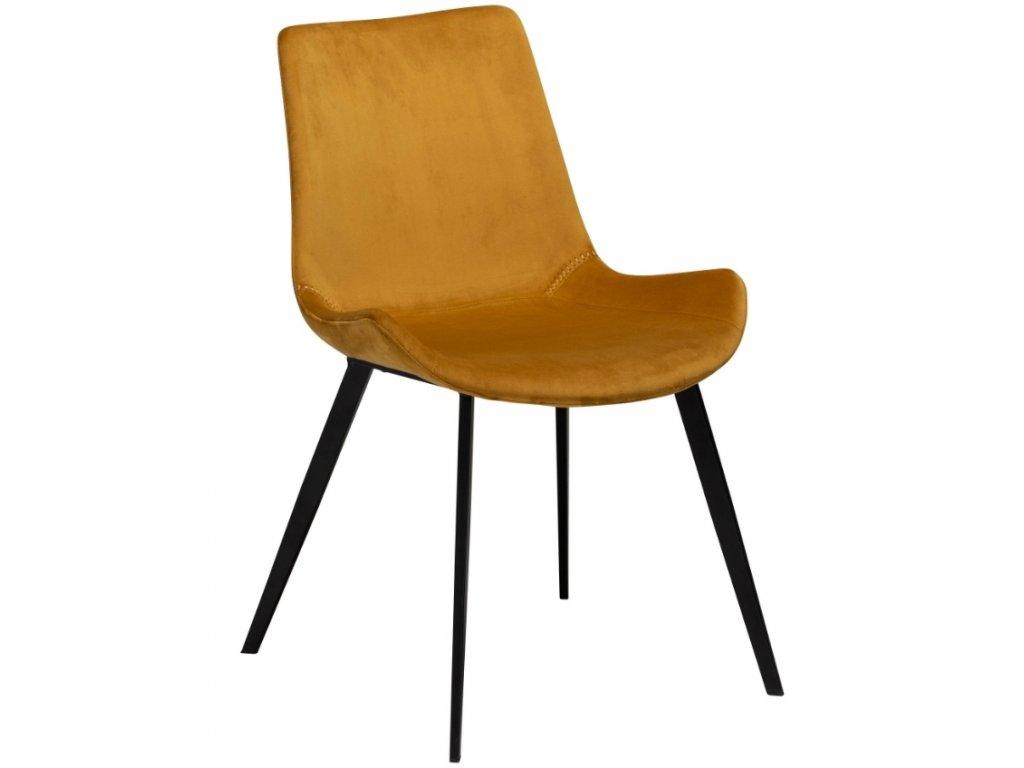 Okrově žlutá sametová židle DanForm Hype
