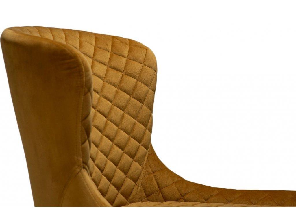 Čalouněná okrově žlutá sametová židle DanForm Vetro s černou podnoží
