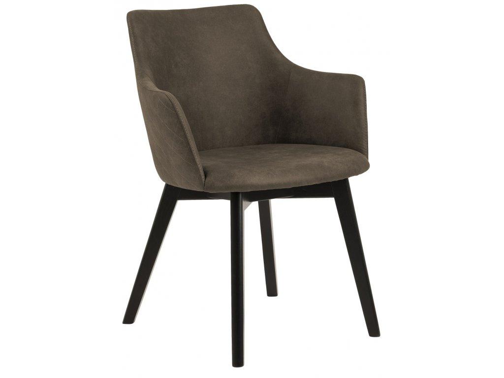 Olivově hnědá čalouněná jídelní židle Dara