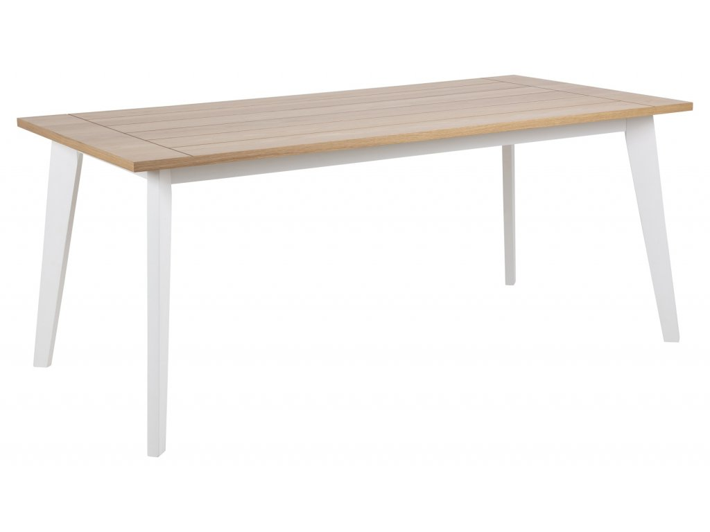 Dřevěný jídelní stůl Harlon 180 cm s bíle lakovanou dřevěnou podnoží