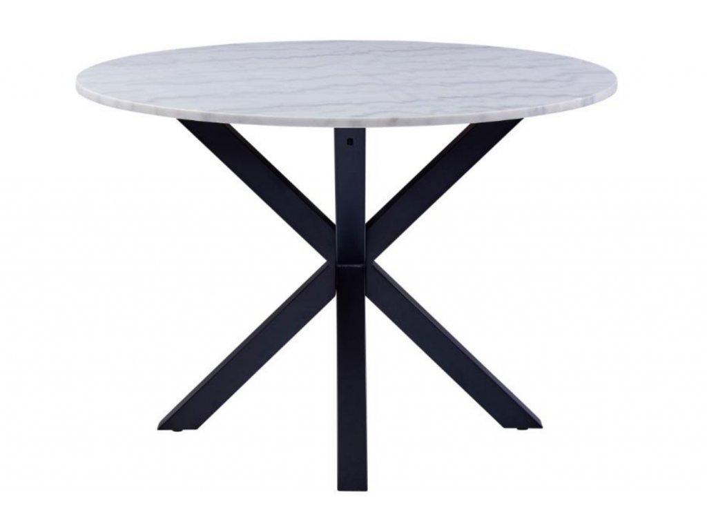 Bílý mramorový jídelní stůl Cody 110 cm s kovovou podnoží