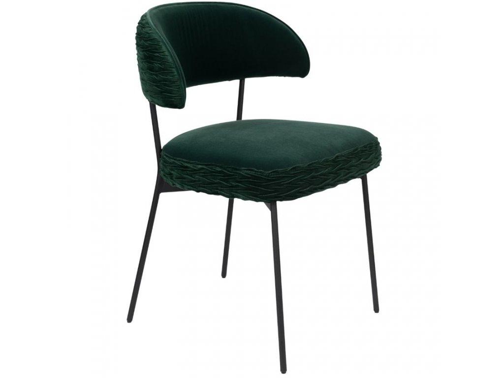 Tmavě zelená sametová židle s nařaseným vzorem Bold Monkey The Winner Takes It All