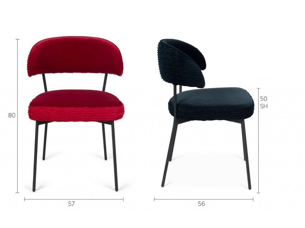 Tmavě modrá sametová židle s nařaseným vzorem Bold Monkey The Winner Takes It All