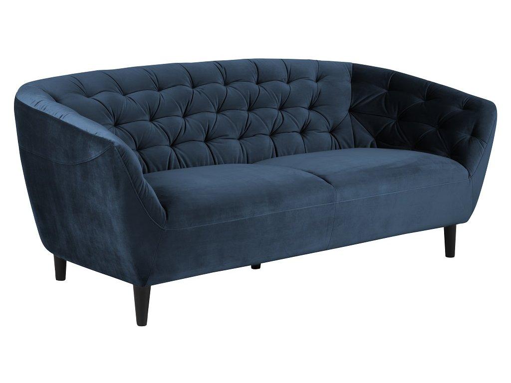 Tmavě modrá sametová pohovka Puri 191 cm s dřevěnou podnoží
