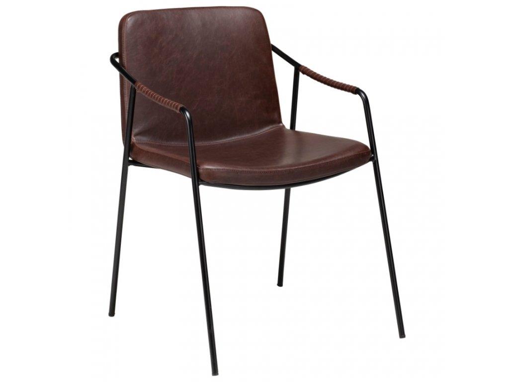 Tmavě hnědá kožená ohnivzdorná jídelní židle DanForm Boto