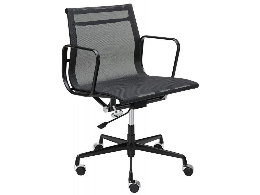 Černá čalouněná konferenční židle Aero II. na kolečkách
