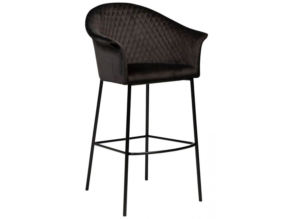 Černá sametová barová židle Dan-Form Kite