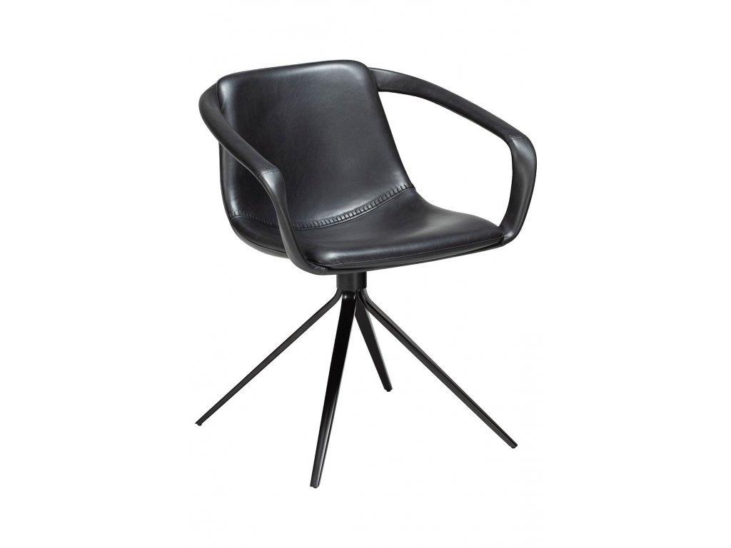 Černá koženková jídelní židle DanForm Jomo