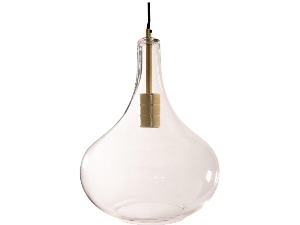 Transparentní skleněné závěsné světlo Hübsch Cone Glass