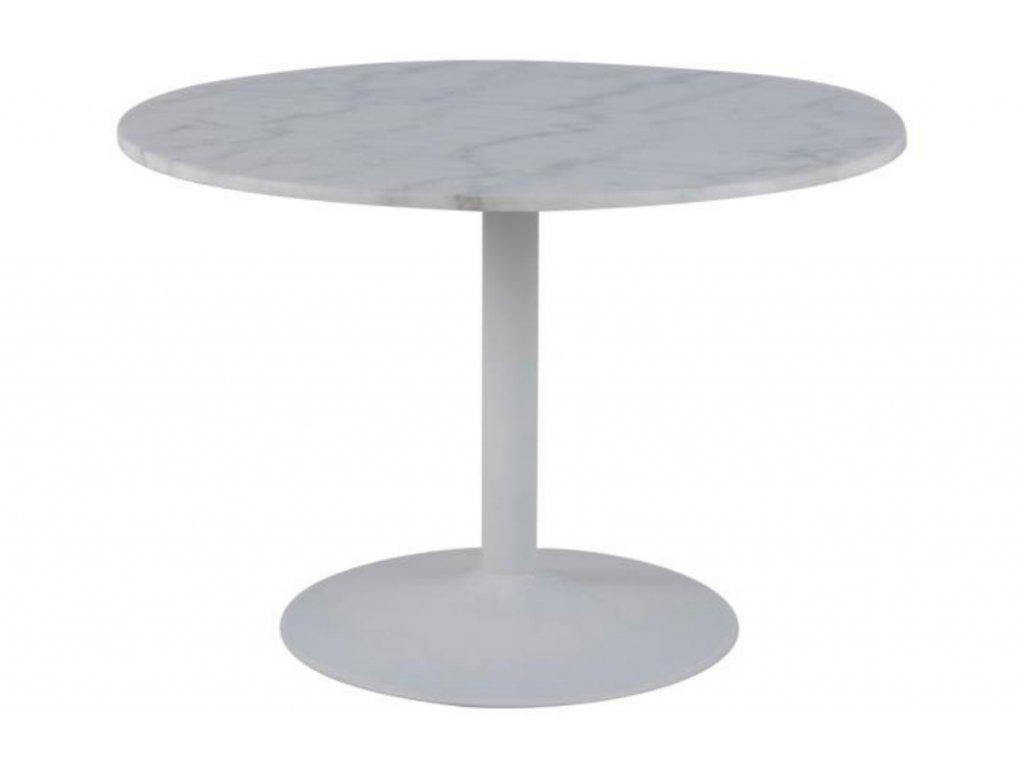 Bílý mramorový kulatý jídelní stůl Theon 110 cm s kovovou podnoží