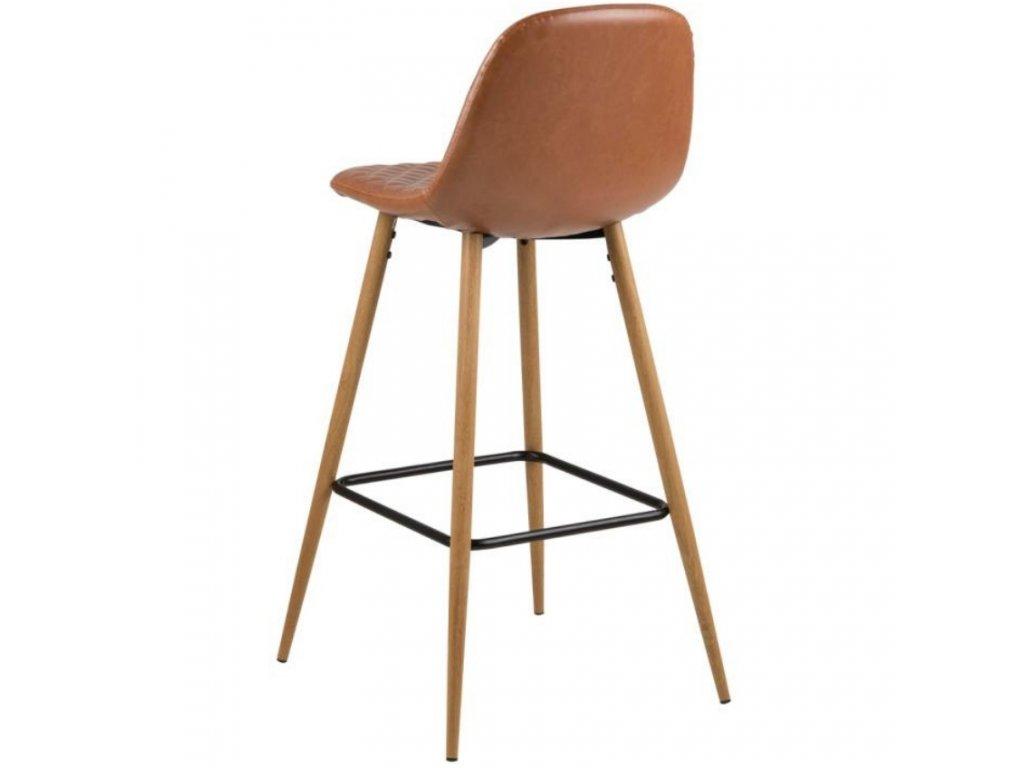 Hnědá čalouněná barová židle Wanda s dubovou podnoží