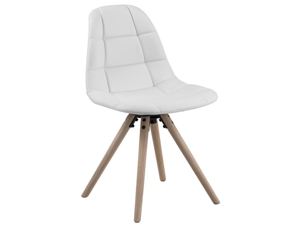 Bílá čalouněná jídelní židle Aurora s dubovou podnoží
