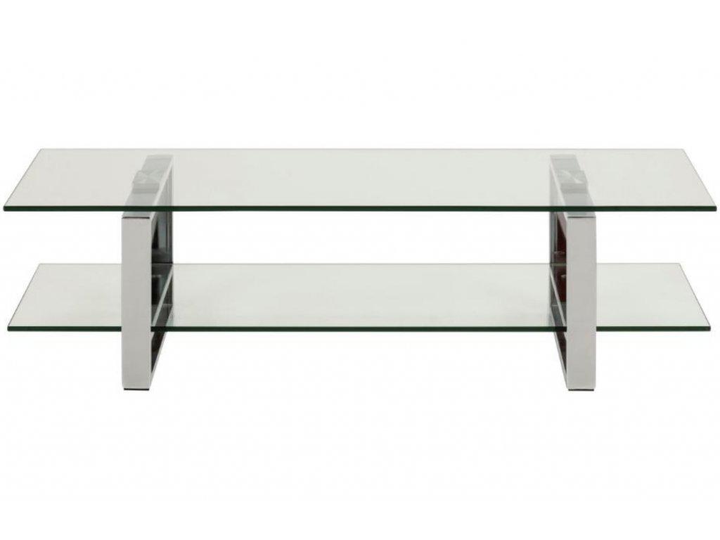 Skleněný TV stolek Divo 120x45 cm s chromovanou podnoží