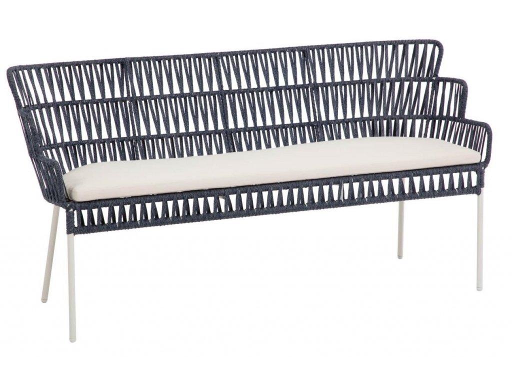 Modrá ratanová lavice LaForma Robyn s kovovou podnoží