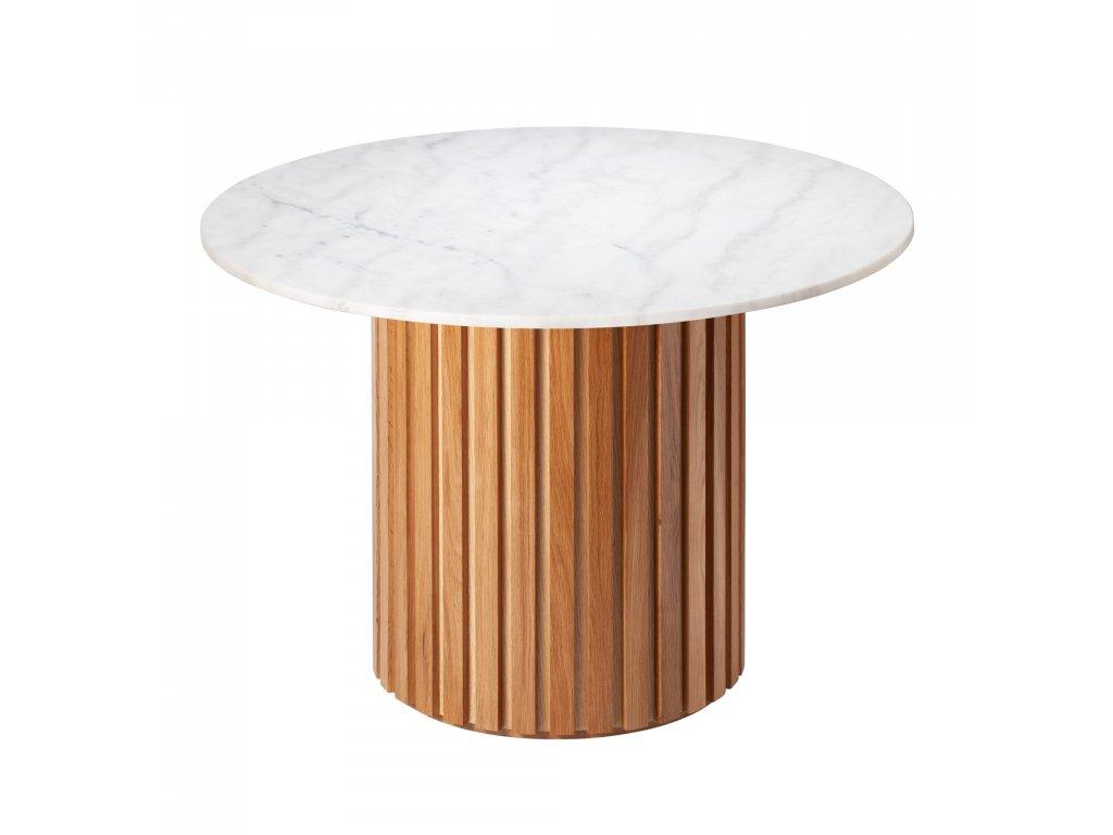Bílý mramorový kulatý jídelní stůl RGE Moon s dubovou podnoží