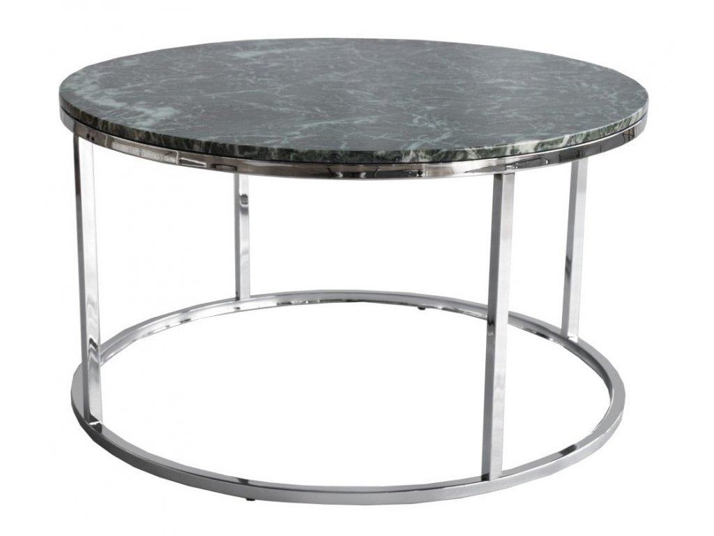 Zelený mramorový konferenční stolek RGE Accent s chromovou podnoží Ø 85 cm