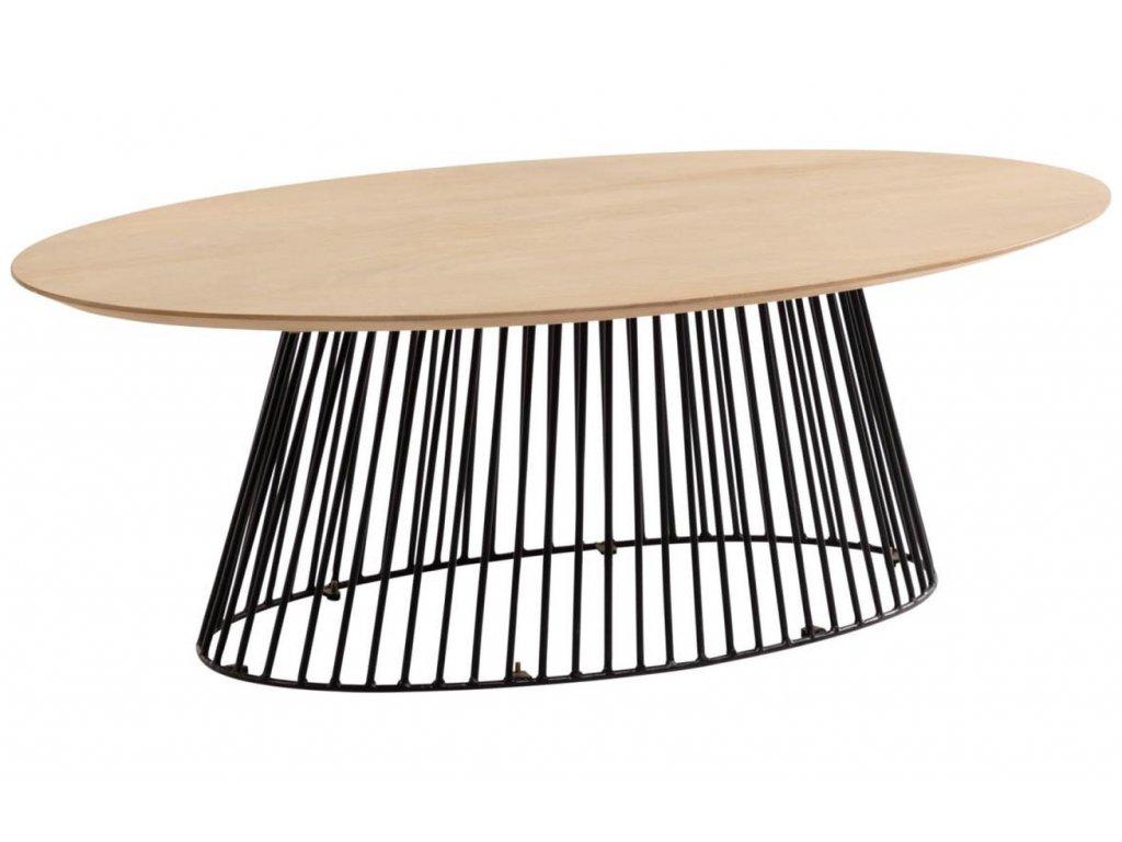 Dubový oválný konferenční stolek LaForma Leska 120x65 cm s kovovou podnoží